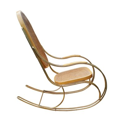 Vintage Gilt Metal U0026 Cane Rocking Chair 1