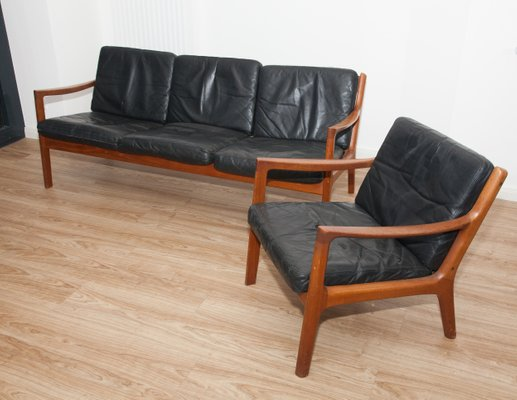 Black Leather & Teak 3-Seater Sofa & Armchair by Ole Wanscher for ...