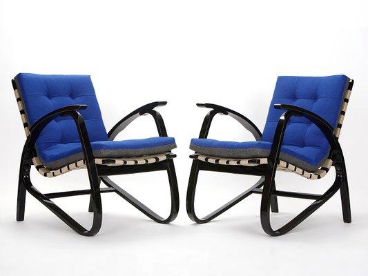 Vintage Blue U0026 Grey Armchairs By Jan Vanek, 1935, ...