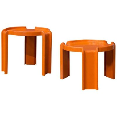 Orange Plastic Nesting Tables By Giotto Stoppino For Kartell, 1970s 1