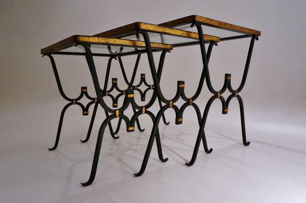 Iron U0026 Bronze Nesting Tables, 1950s 3