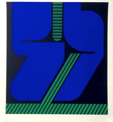 fe39bd627 Serigrafía vintage en azul y verde de Georg Bernhard