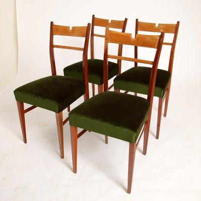 Italian Wood U0026 Green Velvet Dining Chairs, 1950s, ...