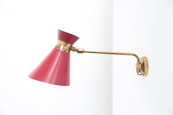 Lampe Murale Rouge Pivotante Par Rene Mathieu Pour Lunel 1960s En