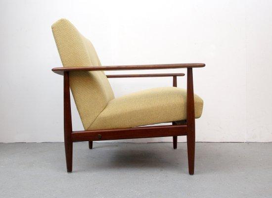 Fauteuil Vintage En Teck Avec Tapisserie Jaune 1960s En Vente Sur