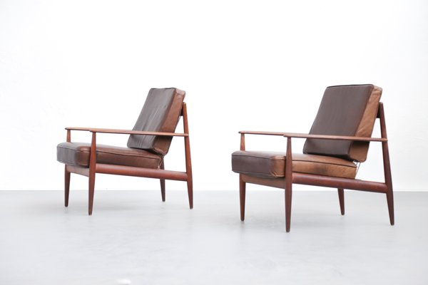Danish Teak And Leather Armchairs By Grete Jalk For France U0026 Søn, ...