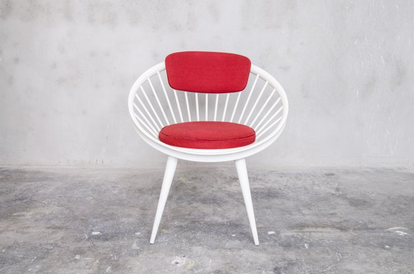 Red U0026 White Circle Chair By Yngve Ekstrom For Swedese, ...
