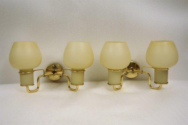 Applique vintage con doppi paralumi in vetro opalino di lyfa set