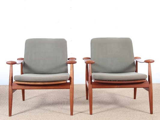 Mid Century Fd 133 Teak Armchairs By Finn Juhl For France Søn