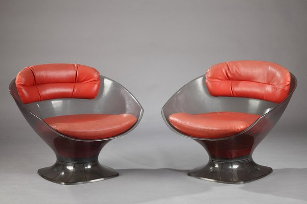 Vintage Lucite And Leather Armchairs By Raphael Raffel, Set Of 2 1