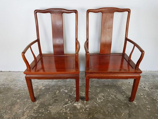 Vintage Chinese Rosewood Desk Chairs Set Of 2
