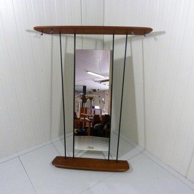Attaccapanni in teak con specchio, anni \'50 in vendita su Pamono