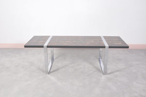 Coffee Table With Ceramic Tile Top By Juliette Belarti 1960s 1