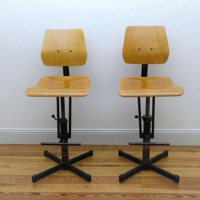 Industrial Beech U0026 Metal High Chairs, 1960s, ...