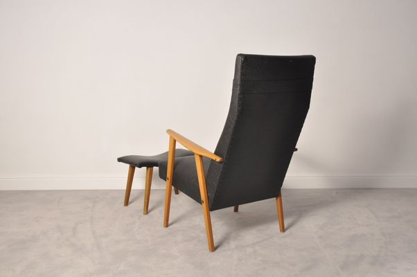 Exceptionnel Mid Century Modern High Back Chair And Ottoman, 1950s 2