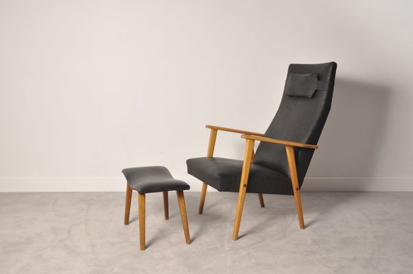 Ordinaire Mid Century Modern High Back Chair And Ottoman, 1950s 1