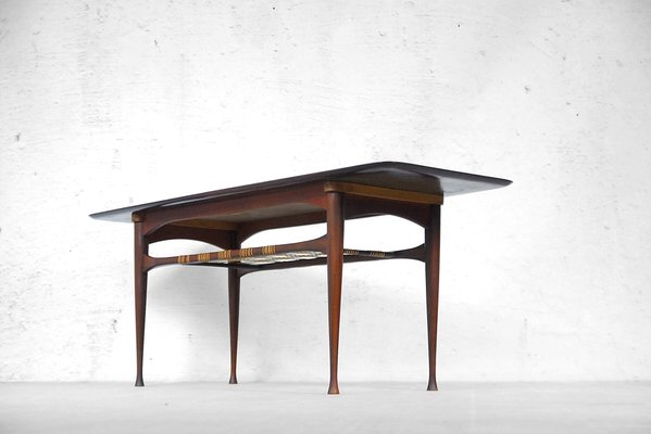 Avec Teck Etagère CannageDanemark1960s Table Basse En dxsCtQhrBo
