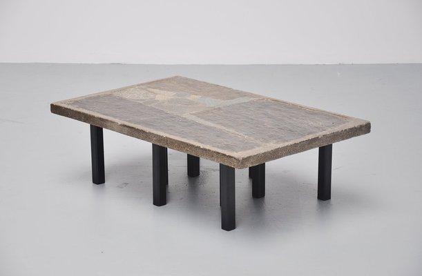 Rectangular Coffee Table In Stone Concrete By Paul Kingma 1963