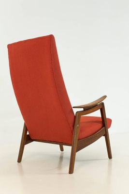 Beau Red Mid Century Modern High Back Chairs, 1960s, Set Of 2 9
