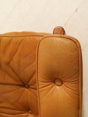 Swedish Rosewood Armchair With Brown Leather Pillows From Göte Möbler, 1960s