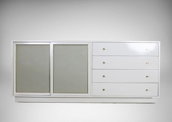 Mid Century White Lacquer Br And Faux Reen Dresser By Harvey Probber 1960s 1