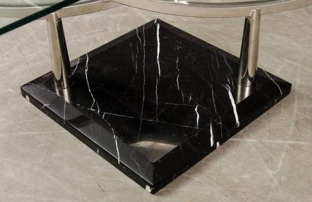 Two Tiered Gl Coffee Table With A Chrome Frame Stone Base