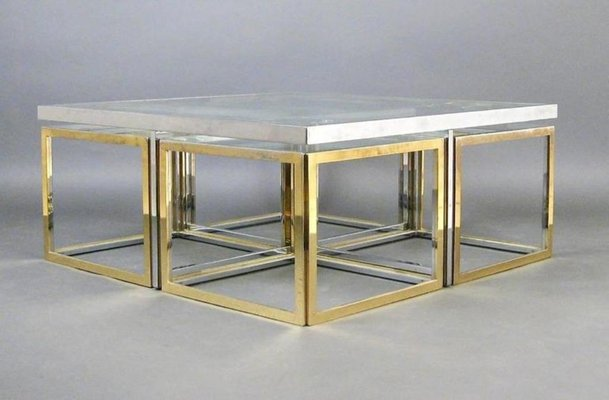 Vintage Large Glass And Metal Coffee Table 2