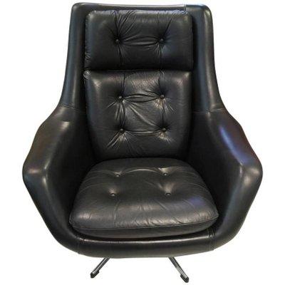 Brilliant Vintage Black Leather Swivel Armchair By Henry Walter Klein For Bramin Dailytribune Chair Design For Home Dailytribuneorg