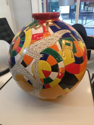 Vintage Large Enameled Spherical Vase By Danillo Curreti For Sale At