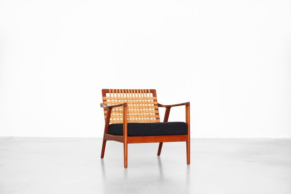 Vintage Danish Lounge Chair With Woven Backrest 1