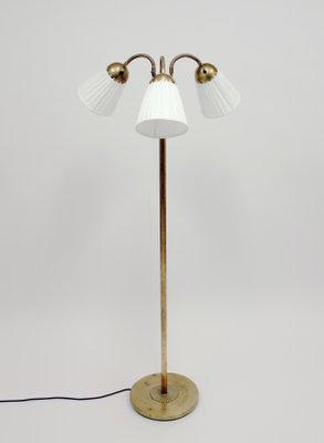 Br Three Light Floor Lamp 1940s For