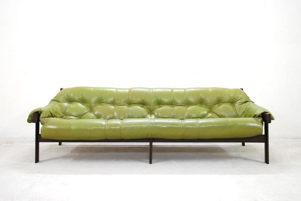 Charmant Model MP 041 Lime Green Leather Sofa From Percival Lafer, 1961 1