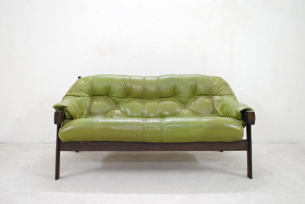 Model Mp 041 Green Leather Sofa From Percival Lafer 1961 For Sale