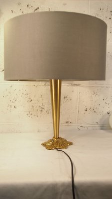 Vintage French Gilded Brass Water Lily Table Lamp From Lucien Gau, 1980s 1