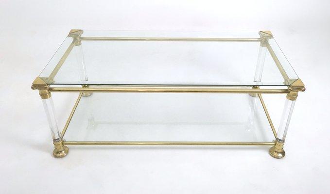 Table Basse Vintage En Cristal Plexiglas Et Laiton Italie 1980s