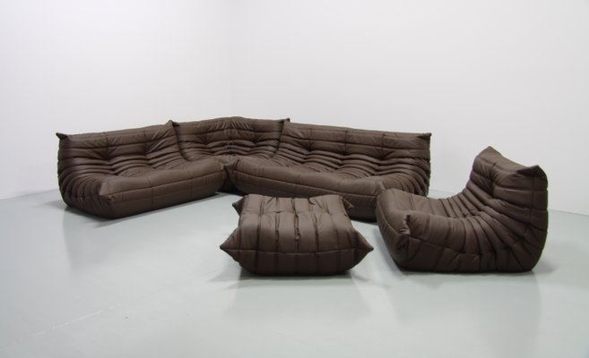 Mid-Century Brown Leather Togo Living Room Set by Michel Ducaroy for ...