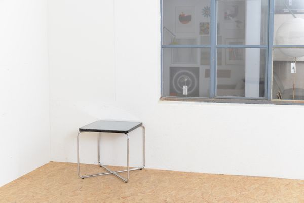 Tavolino vintage in vetro e acciaio tubulare in vendita su Pamono