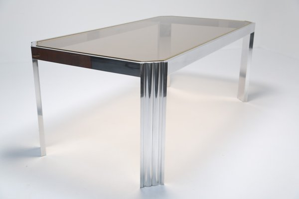 Aluminium U0026 Smoked Glass Dining Table, 1970s 2