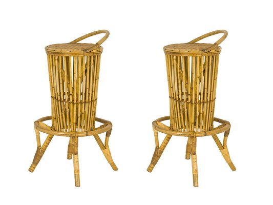 Vintage Italian Rattan Bar Stools, Set Of 2 1