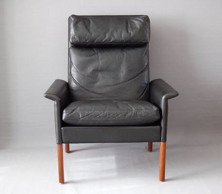 Gentil Vintage Black Leather Armchair By Hans Olsen For CS Mobelfabrik 1