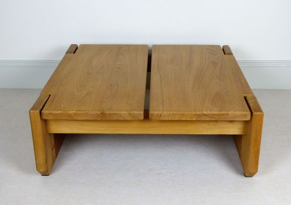 Vintage French Solid Elm Coffee Table From Regain Furniture, 1960s 1