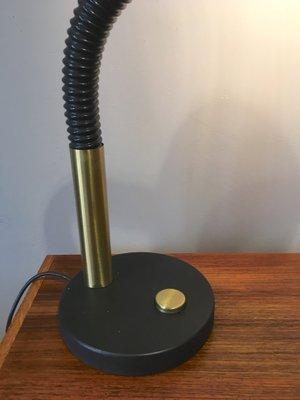 Vintage German Brass And Black Metal Desk Lamp From Hillebrand