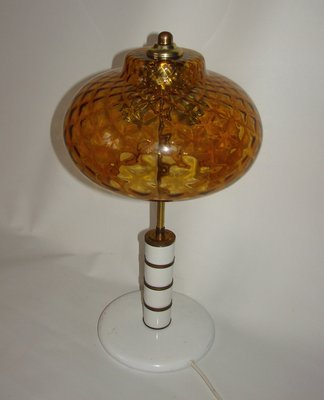 Vintage Amber Pressed Glass Table Lamp 1970s
