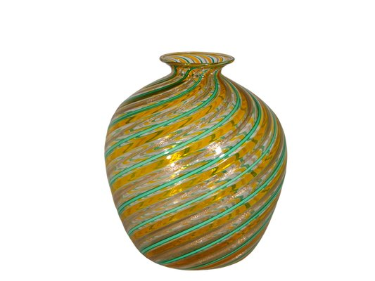 Vintage Multi Colored Murano Glass Vase By Fratelli Toso 1970s For