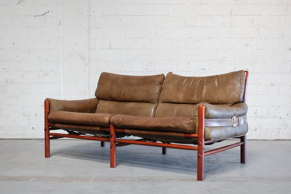 Vintage Kontiki 2-Seater Leather Sofa by Arne Norell