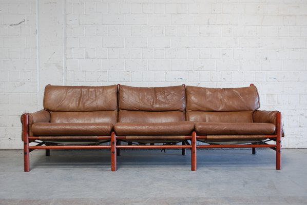 Vintage Kontiki 3-Seater Leather Sofa by Arne Norell for sale at Pamono