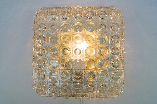 Luce da parete grande in vetro con struttura a bolle, anni \'60