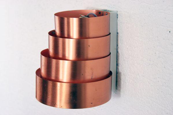 Vintage curved copper applique by hans agne jakobsson for markaryd