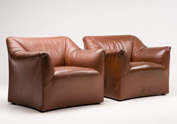 Sedie Vintage Pelle : Poltrone vintage di pelle di mario bellini per cassina set di