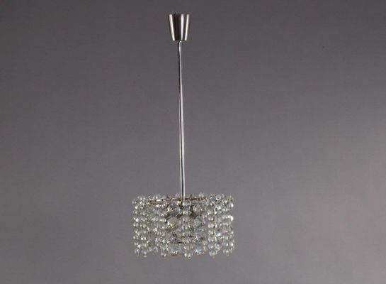 Lampadario Bianco E Cristallo : Lampada a sospensione vintage in cristallo e nichel di bakalowits